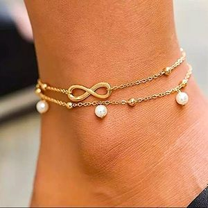 ⚜️[𝟯/$𝟭𝟴]⚜️2 Layered Gold Infinity Anklet NEW